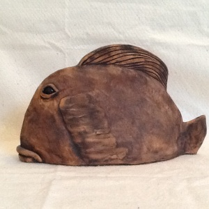 Ceramic Fish-Sue Rooke-High Fire Stoneware-8in x 14in-$200.00