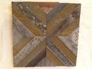 Unframed Quilted Barnwood Square with Lychen-Nathan Andersen-12 3/4in x 12 3/4in-$25.00-item # NA1