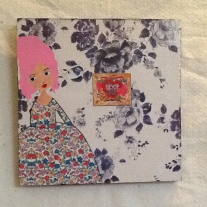 Lovely Lady-Cheriann Reeves-Mixed Media on Wood-11 1/4in x 11 1/4in-$50.00