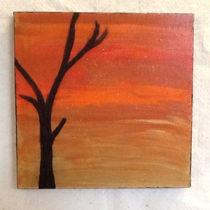 Desert with Russian Olive-Cheriann Reeves-mixed Media on Canvas-10in x10in-$35.00