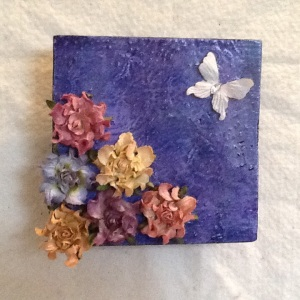 Butterfly with Flower-Cheriann Reeves-Mixed Media on Wood-6in x5 1/2in-$18.00