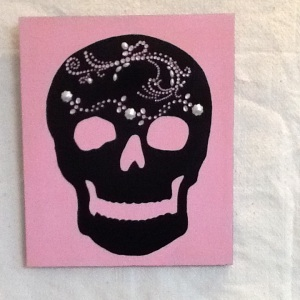 Pink Skull-Cheriann Reeves-Mixed media on Wood-13 1/2in x 11 1/4in-$75.00