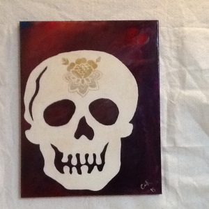 Skull with Gold Flower-Cheriann Reeves-Mixed Media on Canvas-20in x 16in-$100.00