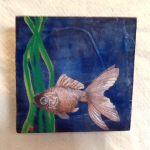 Fish-Cheriann Reeves-Mixed Media on Wood-5 1/2in x 5 1/2in-$20.00