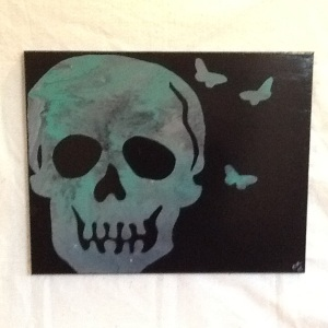 Skull with Butteflies-Cheriann Reeves-Mixed Media on Canvas-16in x 20in-$100.00