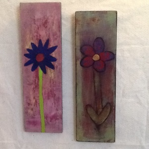Two Flowers-George Reeves-Acrylic on Panel-18in x 6in per panel-$100.00
