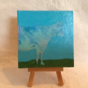 Cow-Chriann Reeves-Mixed Media on Canvas-4in x 4in-$15.00