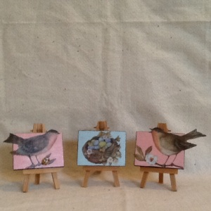 Birds and Nasts-Cheriann Reeves-Mixed Media on Canvas-each 2 1/2in x 3 1/2in-$35.00