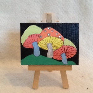 Mushrooms-Cheriann Reeves-Mixed Media on Canvas-2 1/2in3 1/2in-$15.00