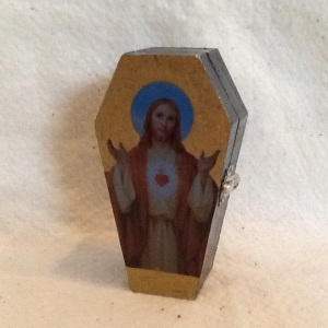 Jesus Coffin Box-Cheriann Reeves-Mixed Media on Wood Box-5in x 2 3/4in-$15.00