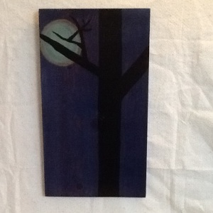 Tree with Moon-Cheriann Reeves-Mied Media on Wood-20in x 11 1/4in-$75.00