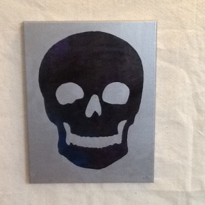 Skull on Silver-Cheriann Reeves-Mixed Media on Canvas-14in x 11in-$45.00