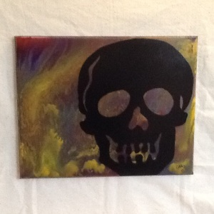 Skull on Swirls-Cheriann Reeves-Mixed Media on Canvas-16in x 20in-$100.00