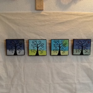 Four Seasons-Cheriann Reeves-Mixed Media on Wood-each 5 1/2in x 5 1/2in-$65.00
