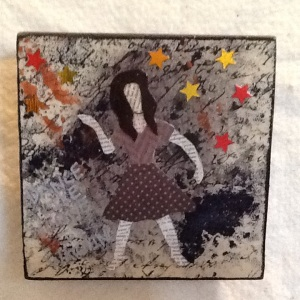Dancing Girl-Cheriann Reeves-Mixed Media on Wood-51/2in x 5 1/2in-$18.00