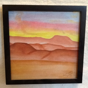 Desert Watercolor-Cheriann Reeves-Watercolor on Paper-8in x 8in-$25.00 w/ frame