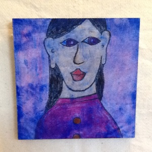 Blue Girl-George Reeves-Mixed Media on Wood-11 1/4in x 11 1/4in-$40.00