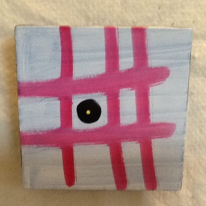 Pink Grid-George Reeves-Mixed Media on Wood-5 1/2in x 5 1/2in-$25.00
