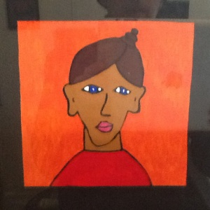 Girl on Orange-Geore Reeves-Mixed Media on Paper-8in x 8in-$20.00 unframed