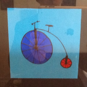 Blue Bike-George Reeves-Mixed Media on Paper-8in x 8in-$20.00 unframed