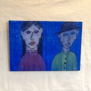 Boy and Girl-George Reeves-Mixed Media on Wood-11 1/4in x 16in-$45.00