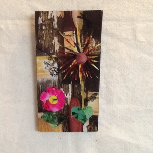 Flowers and Butterflies-George Reeves-Collage on Board-10 1/2in x 5 1/2in-$20.00