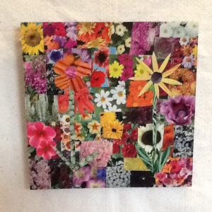 Many Flowers-George Reeves-Collage on Board-11 1/4in x 11 1/4in-$35.00