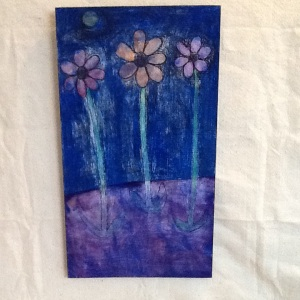 Flowers on Blue-George Reeves-mixed Media on Wood-20in x 11 1/4in-$45.00