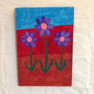 Flowers with Red Fence-George Reeves-Mixed Media on Wood-16in x 11 1/4in-$45.00