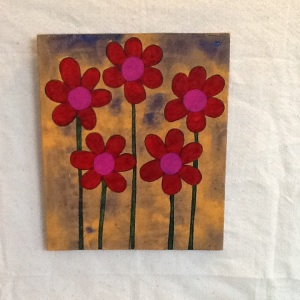 Red and Pink Flowers-George Reeves-Mixed Media on Wood-13 1/2in x 11 14in-$45.00