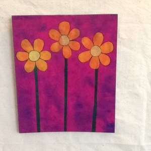 Orange and Yellow Flowers-George Reeves-Mixed Media on Wood-13 1/2in x 11 1/4in-$45.00