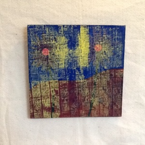 Yellow Grid-George Reeves-Mixed Media on Wood-11 1/4in x 11 1/4in-$30.00