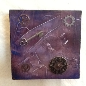 Key with Clock and Gears-George Reeves-Mixed Media on Wood-5 1/2in x 5 1/2in-$20.00