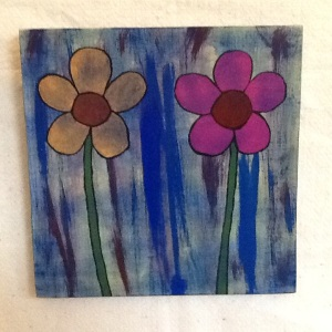 Pink And Orange Flowers-George Reeves-Mixed Media on Wood-11 1/4in x 11 1/4in-$30.00