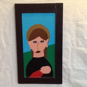 Mother And Child-George Reeves-Mixed Media on Wood-24in x 13 3/4in-$150.00