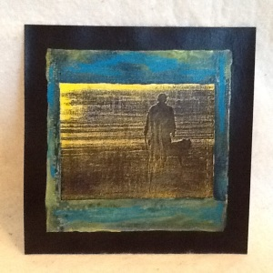 Man and Dog-George Reeves-Mixed Media on Paper-6in x 6in-$20.00 unframed