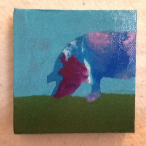 Pig-Cheriann Reeves-Acrylic on Canvas-4in x4in-$20.00