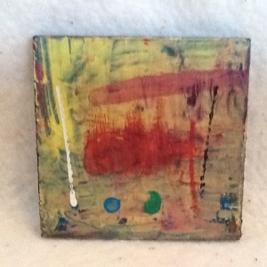 Abstract Magnet-George Reeves-Mixed Media on Wood-3 3/4am x 3 3/4in-$10.00-item #NR3