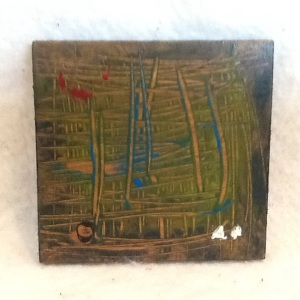 Abstract Magnet-George Reeves-Mixed Media on Wood-3 3/4in x 3 3/4in-$10.00-item #NR5