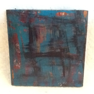 Abstract Magnet-George Reeves-Mixed Media on Wood-3 3/4in x 3 3/4in-$10.00-item #NR8