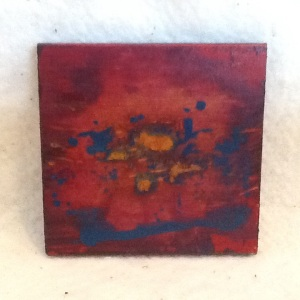 Abstract Magnet-GeorgeReeves-Mixed Media on Wood-3 3/4in x 3 3/4in-$10.00-item #NR11