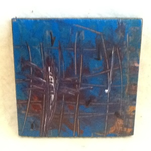 Abstract Magnet-George Reeves-Mixed Media on Wood-3 3/4in x 3 3/4in-$10.00-item #NR2