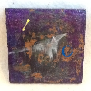 Abstract Magnet-George Reeves-Mixed Media on Wood-3 3/4in x 3 3/4in-$10.00-item #NR20