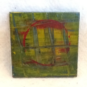 Abstract Magnet-George Reeves-Mixed Media on Wood-3 3/4in x 3 3/4in-$10.00-item #NR1