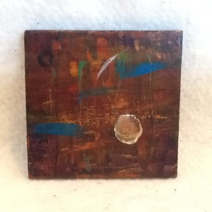 Abstract Magnet-George Reeves-Mixed Media on Wood-3 3/4in x 3 3/4in-$10.00-item #NR9