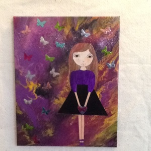 Girl with Butterflies-Cheriann Reeves-Mixed Media on Canvas-14in x 11in-$100.00