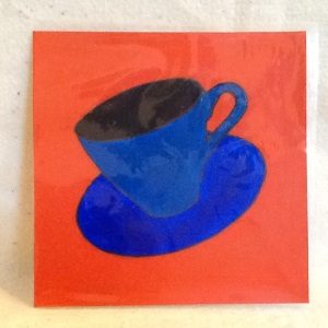 Cup on Orange-George Reeves-Mixed Media on Paper-8in x 8in-$20.00 unframed