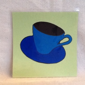 Cup on Yellow-George Reeves-Mixed Media on Paper-8in x 8in-$20.00 unframed