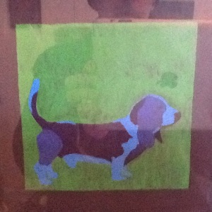 Basset-George Reeves-Mixed Media on Paper-8in x 8in-$20.00 unframed