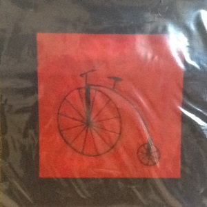 Black and Red Bike-George Reeves-Mixed Media on Paper-8in x 8in-$20.00 unframed